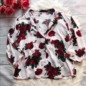 ASOS Rose Floral Patterned Button Down Shirt